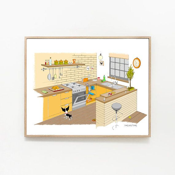 Boston Terrier Kitchen Temptations Print from the Original Ink ...