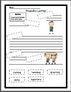 Friendly Letter Cut And Paste  Writing Lesson Plans And Ideas For