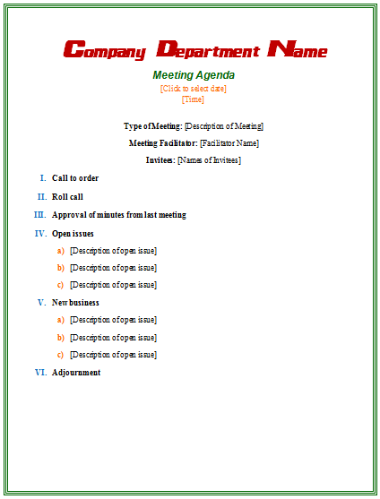 Microsoft Word · Formal Meeting Agenda Template  Microsoft Word Meeting Agenda Template