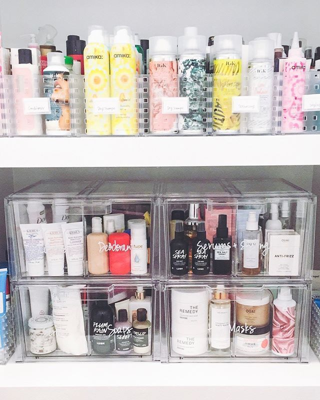 """Life in Jeneral on Instagram: """"Our form of self-care? Organizing products in a way that's smart, functional, and pretty to look at. � Clear storage with labels does a…"""""""