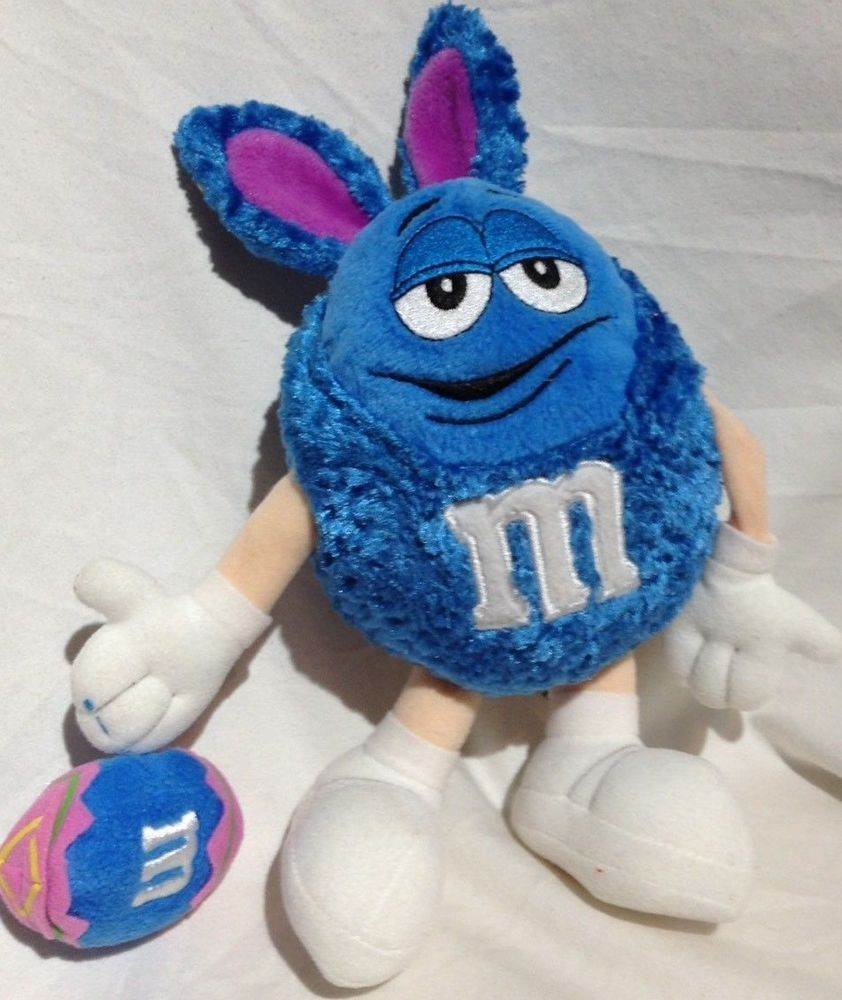 M M Blue Easter Plush Stuffed Animal Velvet Bunny Rabbit Ear Costume Embroidered Mars Easter Plush Velvet Bunny Plush Stuffed Animals