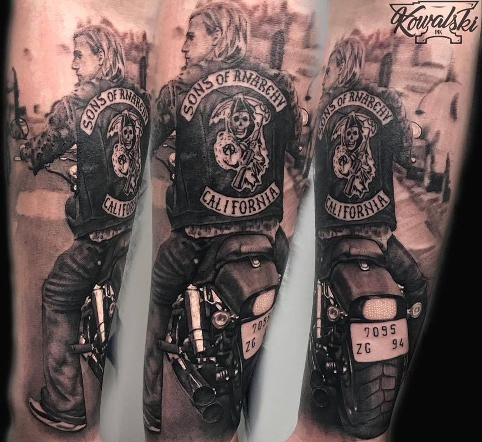 Sons Of Anarchy Tattoo By Patryk Limited Availability At Redemption Tattoo Studio Sons Of Anarchy Tattoos Tattoo Studio Tattoos