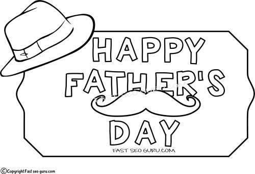 Printable Father day hat coloring pages for kids. Free