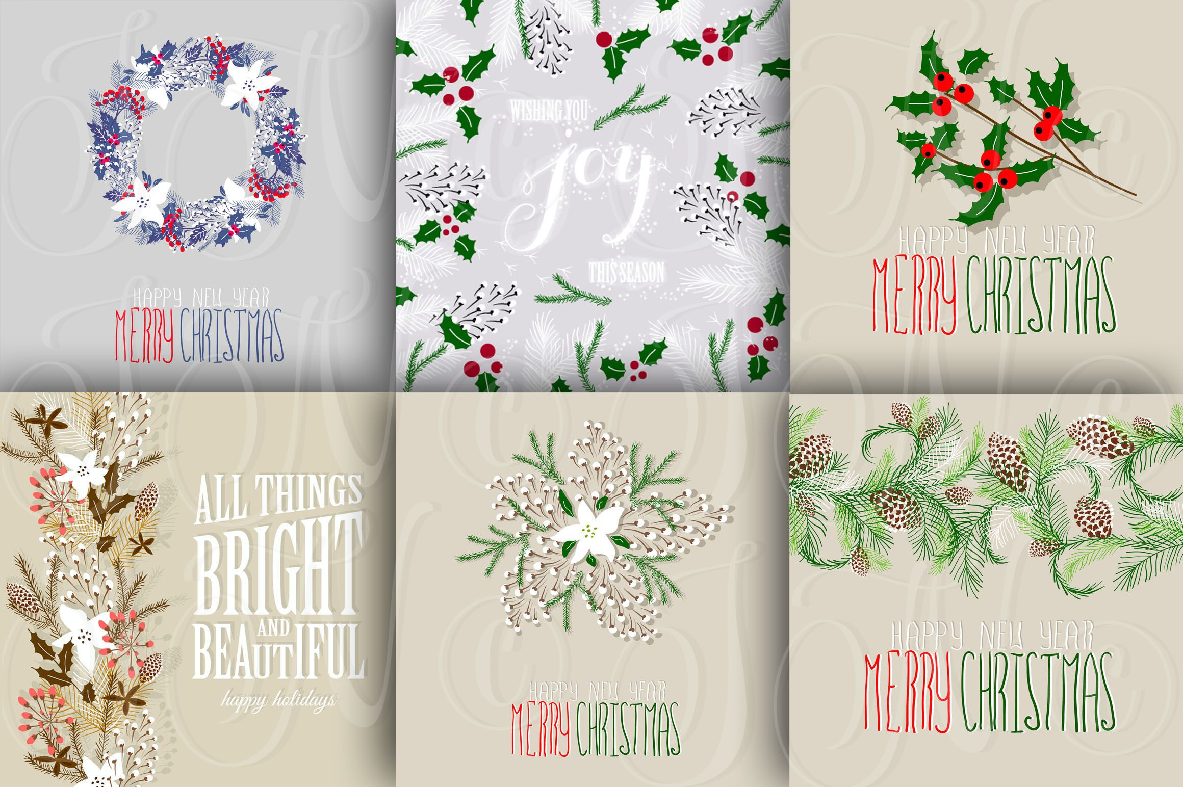 56 Christmas clip arts + 12 cards by Ivan Negin on Creative Market