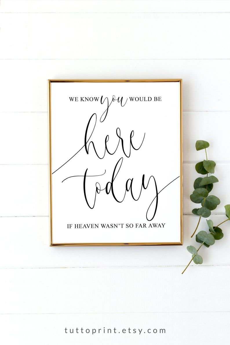 We Know You Would Be Here Today If Heaven Wasn T So Far Etsy In 2020 Wedding Memorial Sign Wedding Memorial Printable Wedding Sign