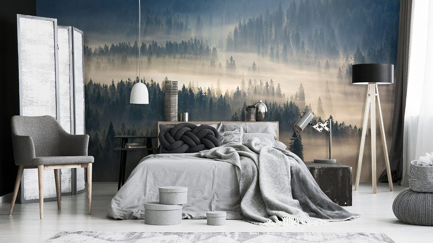 Sypialnia Z Fototapeta Z Lesnym Klimatatem Otoczonym Mgla Sypialnia