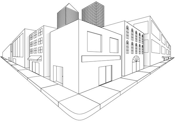Two Point Perspective City Drawing Sketch Coloring Page Mimari