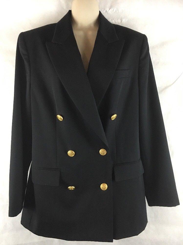 292576e2a6f35 Talbots Women s 8 Black 100% Wool Double Breasted Gold Button Blazer Suit  Jacket  Talbots  Blazer