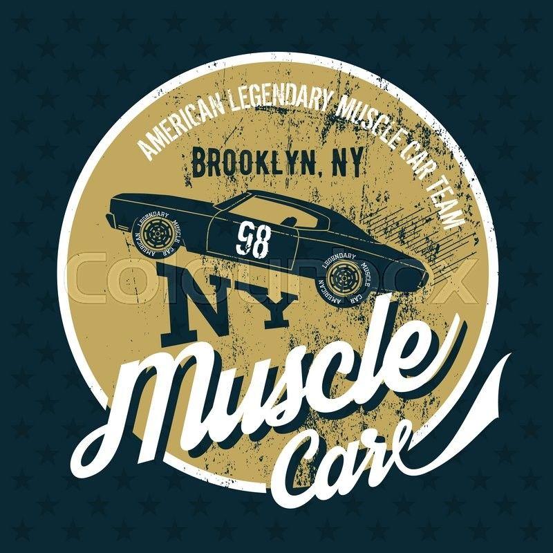 Vintage American Car Logo Vintage American Muscle Car Old Grunge