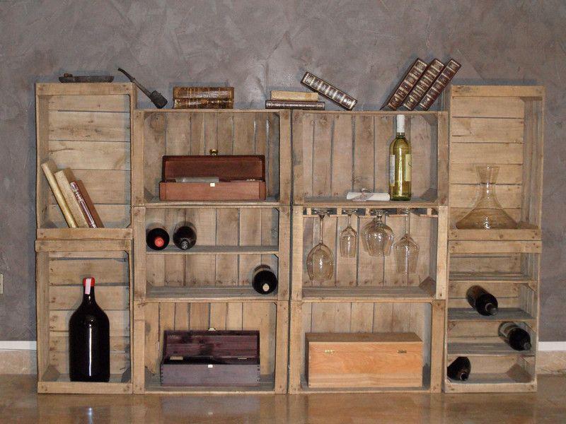 Cassette frutta in legno vintage portabottiglie di for Portabottiglie vino fai da te