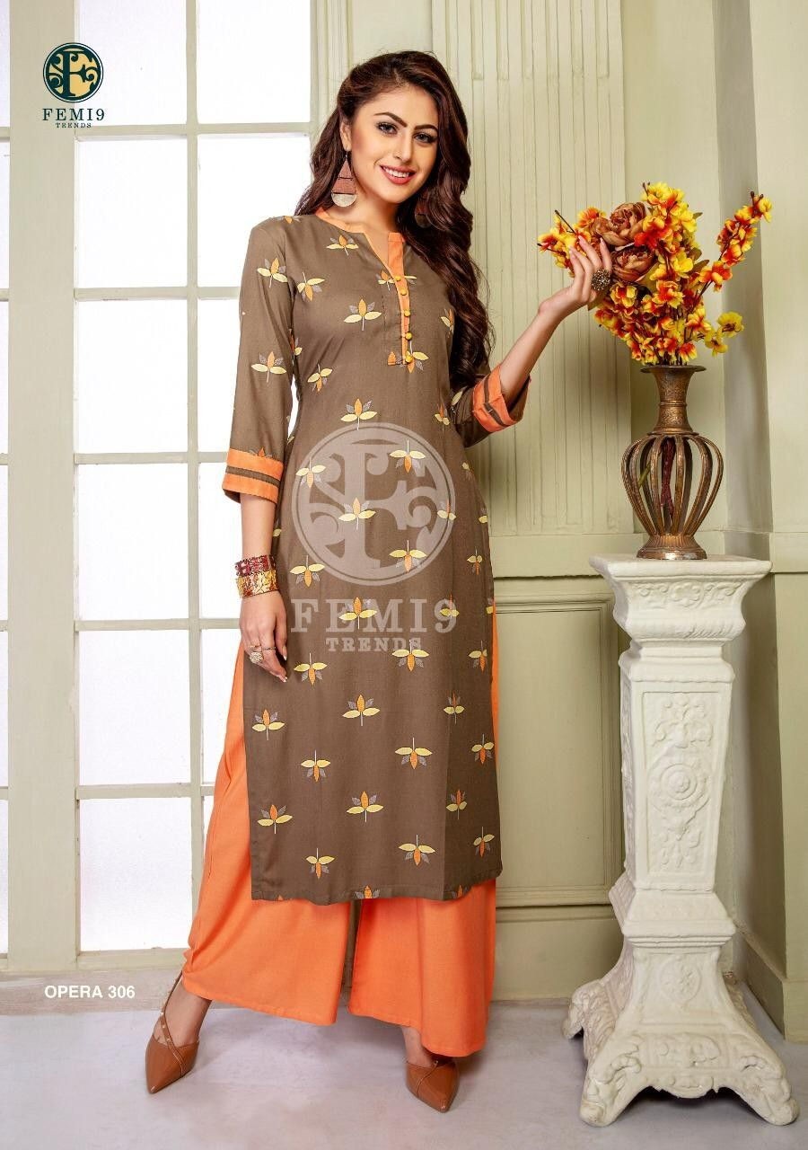 Order Trend Femi 9 Kurti Plazzo 1055 On Whatsapp Number 919619659727 Or Artistryc In Fashion Western Dresses Kurti