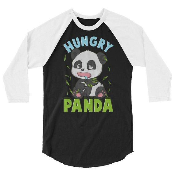 Cute Hungry Panda Always Hungry Funny Baby Panda 3/4 Sleeve Raglan Baseball T-Shirt - Premium Baseball Style Three Quarter Sleeve Shirts #babypandas