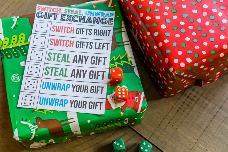 A Fun Gift Exchange Game Using Dice And Wrapped Gifts White