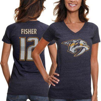 CCM Mike Fisher Nashville Predators Ladies Name   Number V-Neck T-Shirt - 94bd9f7a4d0