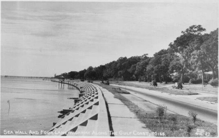 Seawall Before Sand Beach Mississippi History Gulf Coast Biloxi