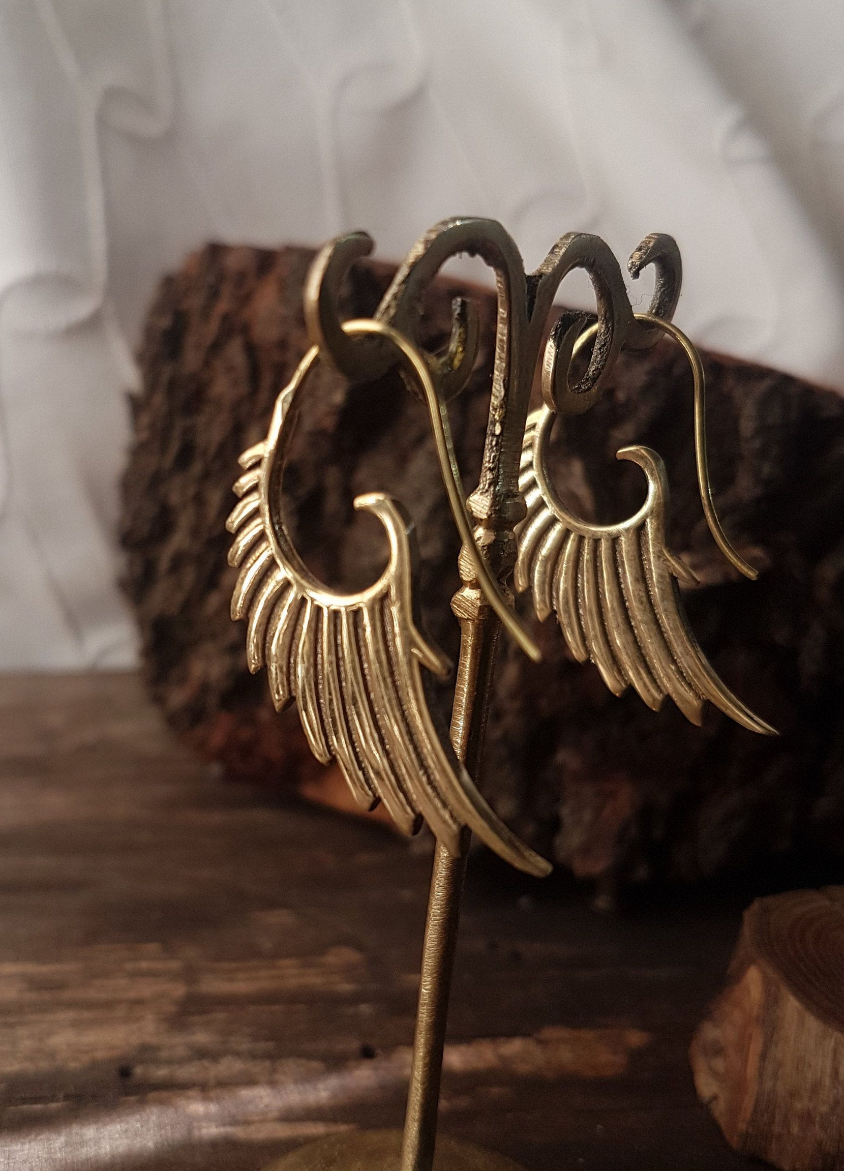 Photo of pendiente unfortunately angel wing earrings gold tribal earrings gold fairy wing earrings dainty jewelry dangle earrings boho jewelry gift for woman