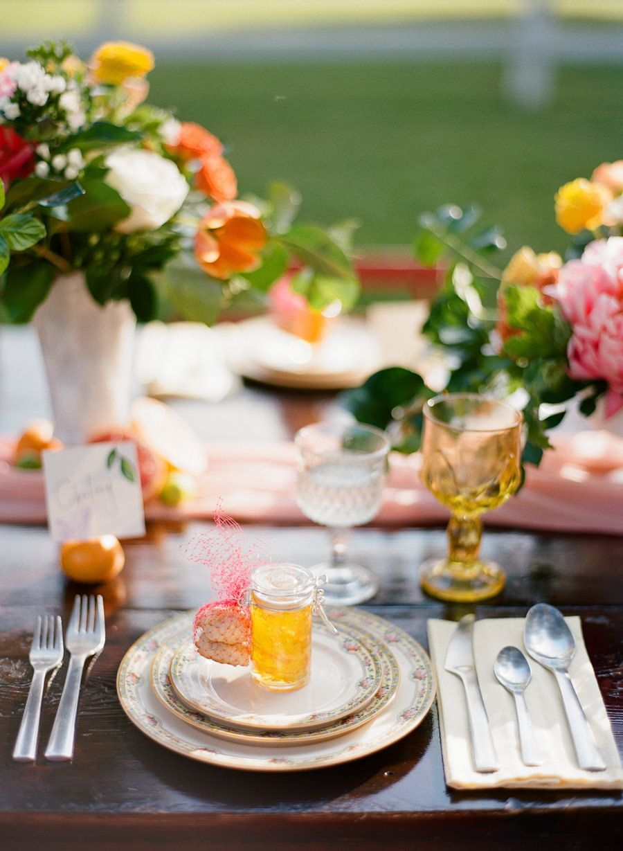 Outdoor wedding reception decor with vintage white vases citrus outdoor wedding reception decor with vintage white vases citrus and orange yellow and reviewsmspy