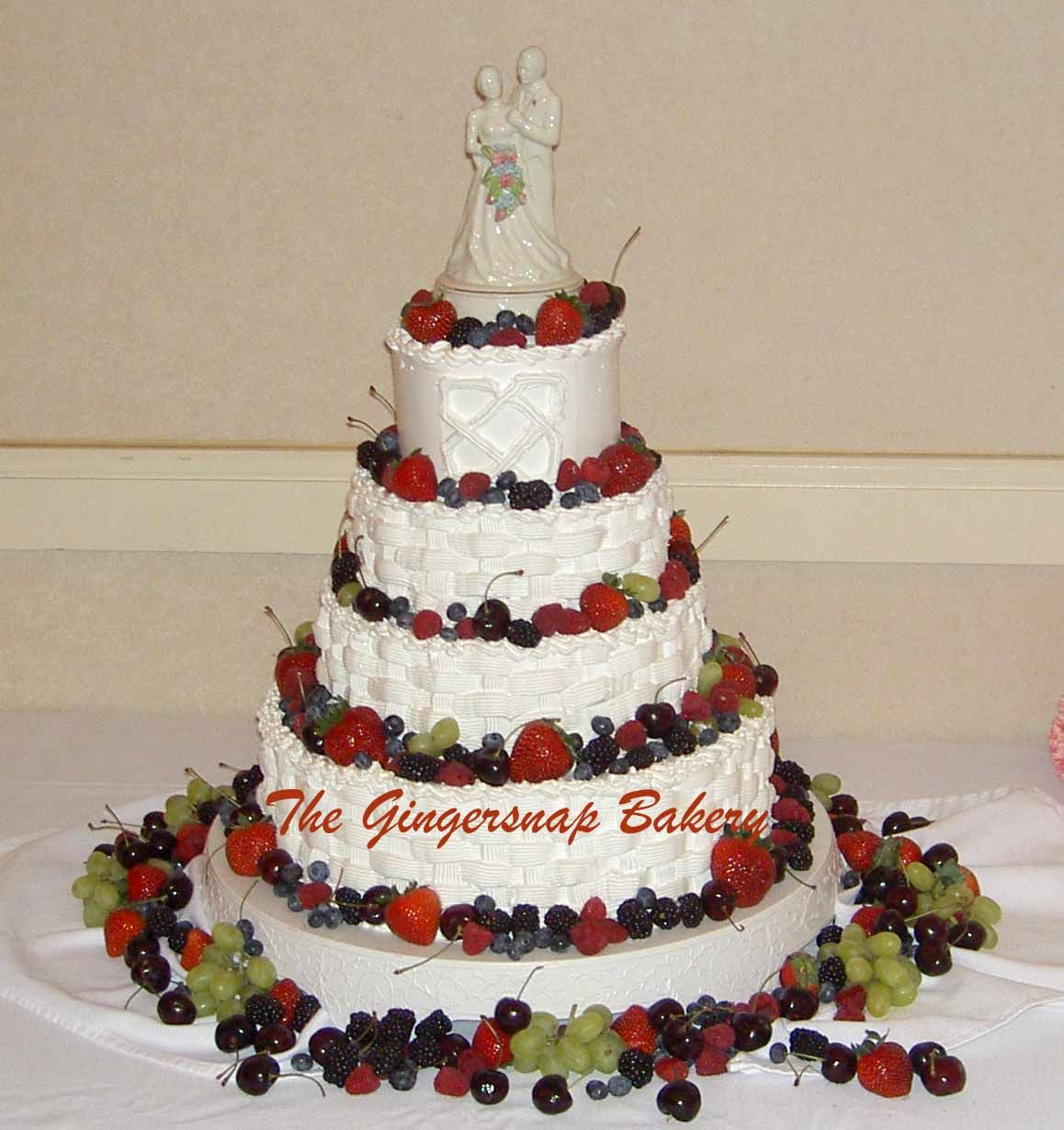 Wedding cake: White cake with raspberry filling and white ...