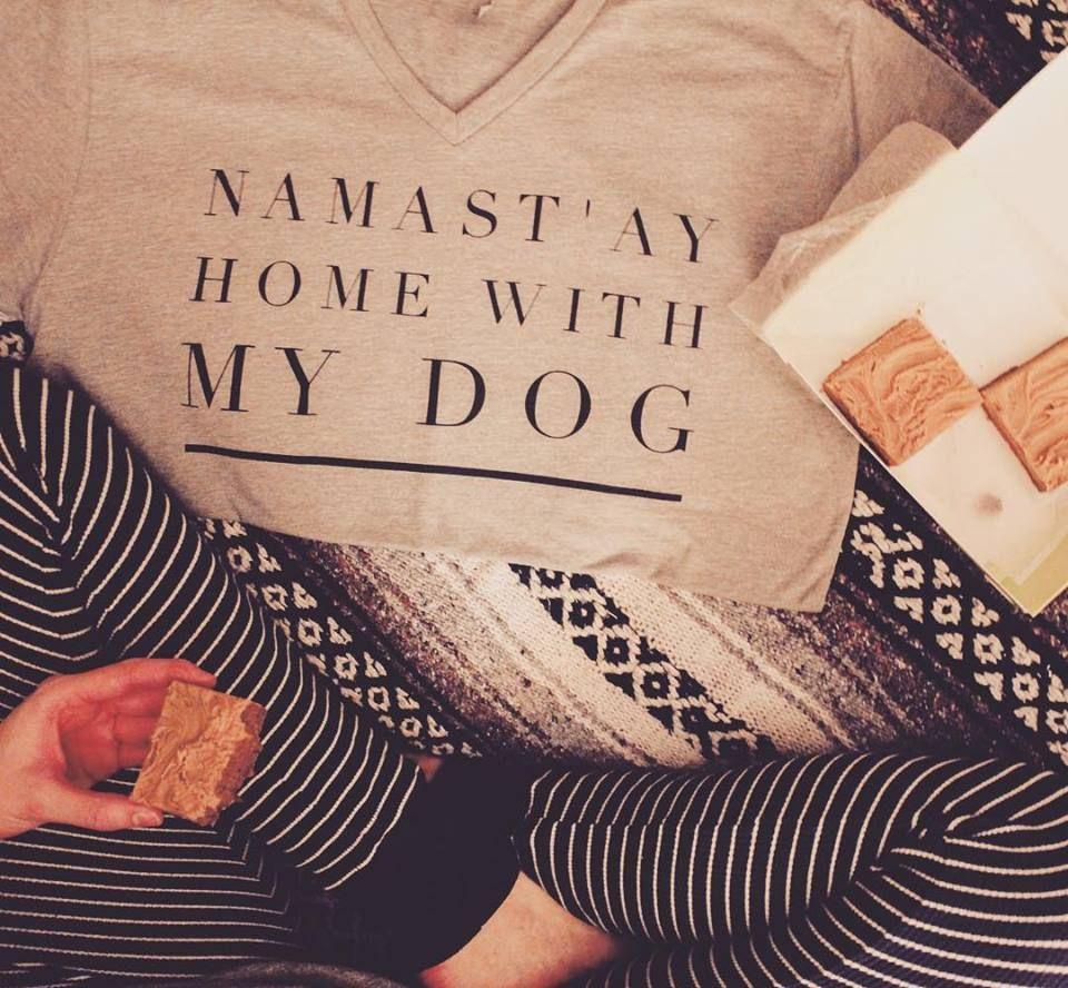 Namastuay home with my dog short sleeve v neck namaste dog and