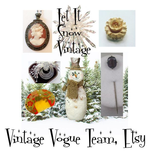 """""""Let It Snow Vintage"""" by lunasvintagedesigns ❤ liked on Polyvore featuring GE, Kushi and vintage"""