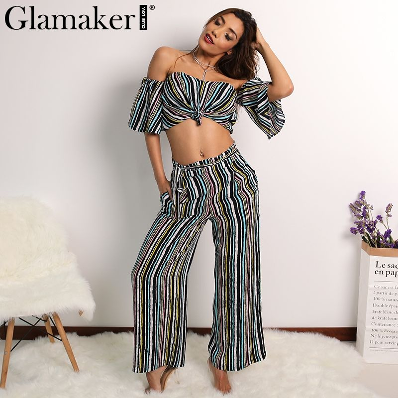cfe1e71fd5d Glamaker Spring off shoulder two piece striped loose pants Sexy slim casual  jumpsuit romper Cool summer elegant jumpsuit Price  31.98   FREE Shipping   sale ...