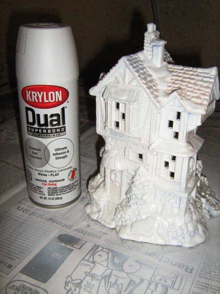 White Christmas (Repainting a Christmas Village)   Diy ...