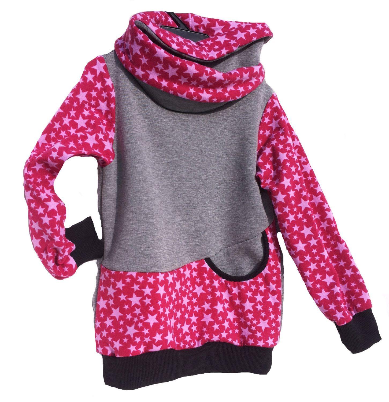 Sweat Shirt Pink Rosa Sterne Grau Mit Wickelkragen Madchen