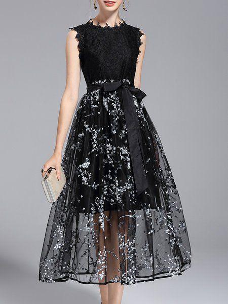 68670af6ae957 Shop Midi Dresses - Black Crew Neck Elegant Printed A-line Midi Dress  online.