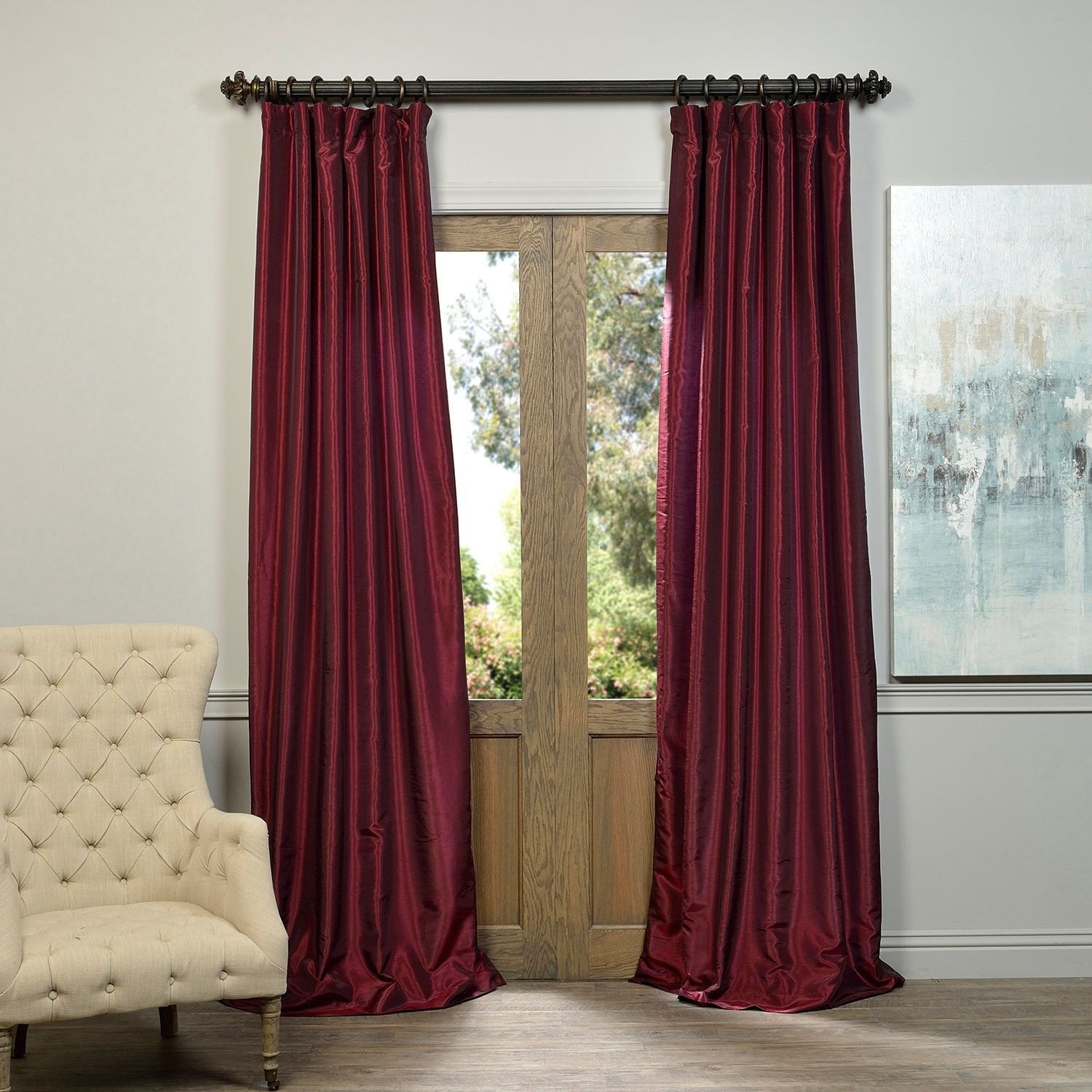 Eff Ruby Vintage Faux Textured Dupioni Silk Curtain Panel 96 Inch
