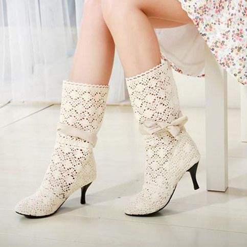 Hollow Out Bowknots Mid Calf Boot Mesh Stiletto Shoes Pump from lilystyle