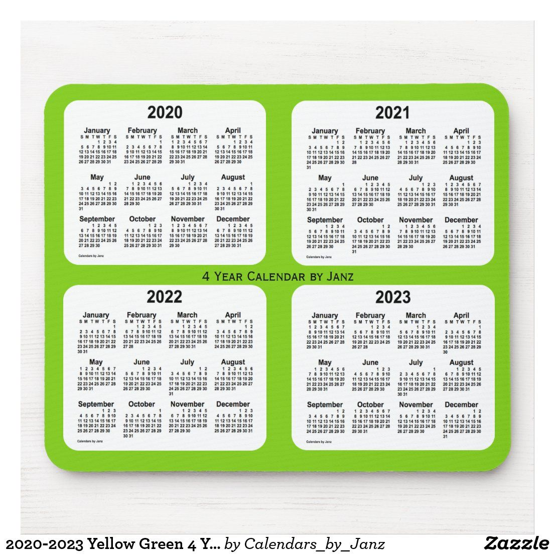 2020-2023 Yellow Green 4 Year Calendar by Janz Mouse Pad ...