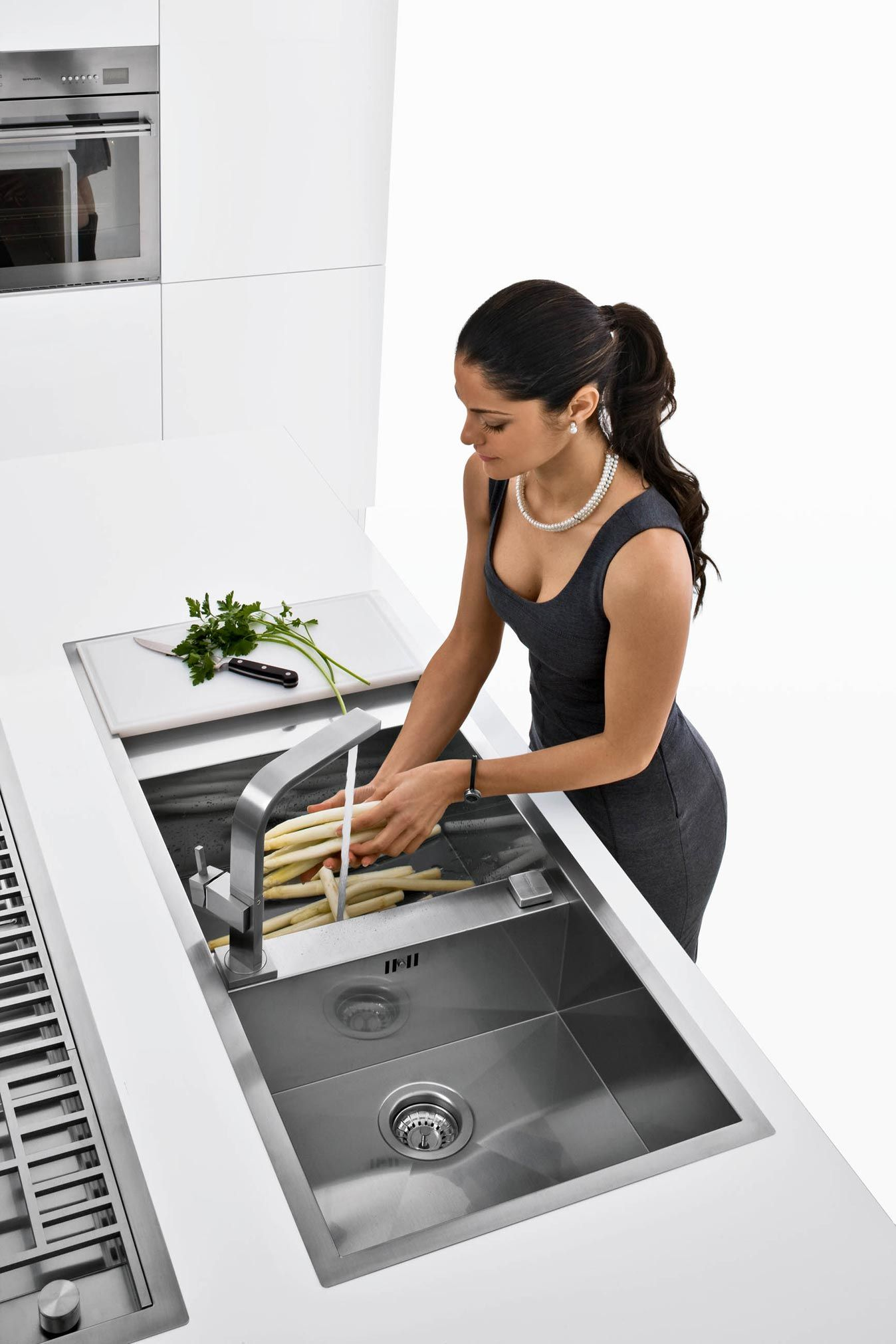 Kitchen sink with matching black glass tap landing and sliding cover - Barazza Lab Sink And Tap