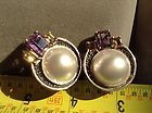 JUDITH JACK 925 STERLING MARCASITE&AMYTHEST&CITRINE MABE PEARL EARRINGS CLIP - Designer Jewelry Galleria