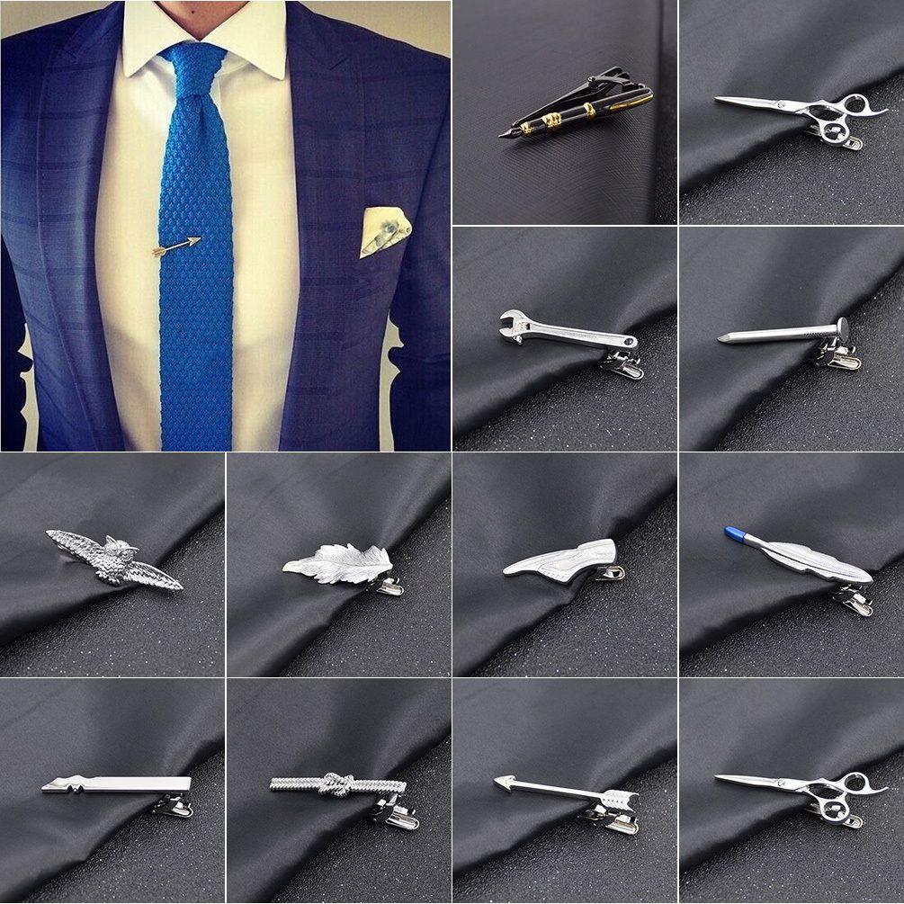 Men Tie Clips Gun Color Scissor Pattern 2 inches Tie clasp Clips