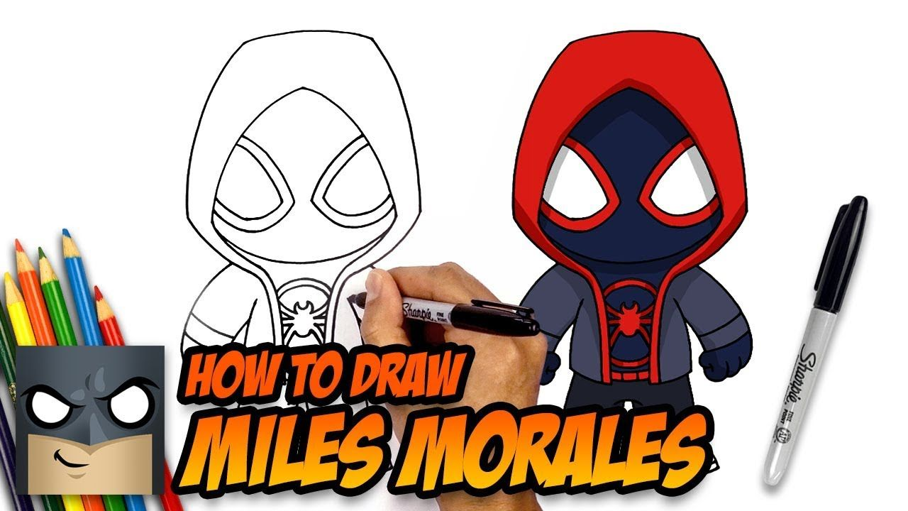 How to draw miles morales spider man step by step