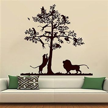 wall decals lion decal tree monkey safari landscape vinyl on wall stickers for hall id=44533