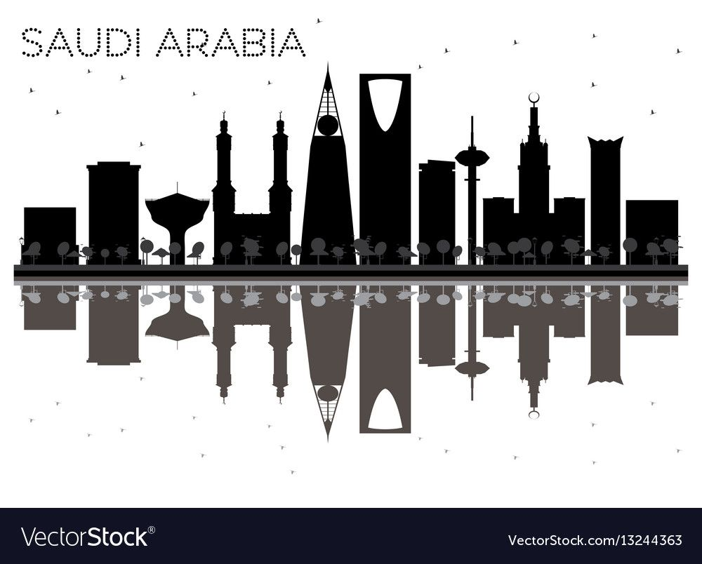 Saudi Arabia Skyline Black And White Silhouette Vector Image On Vectorstock Silhouette Vector City Skyline Art History Design