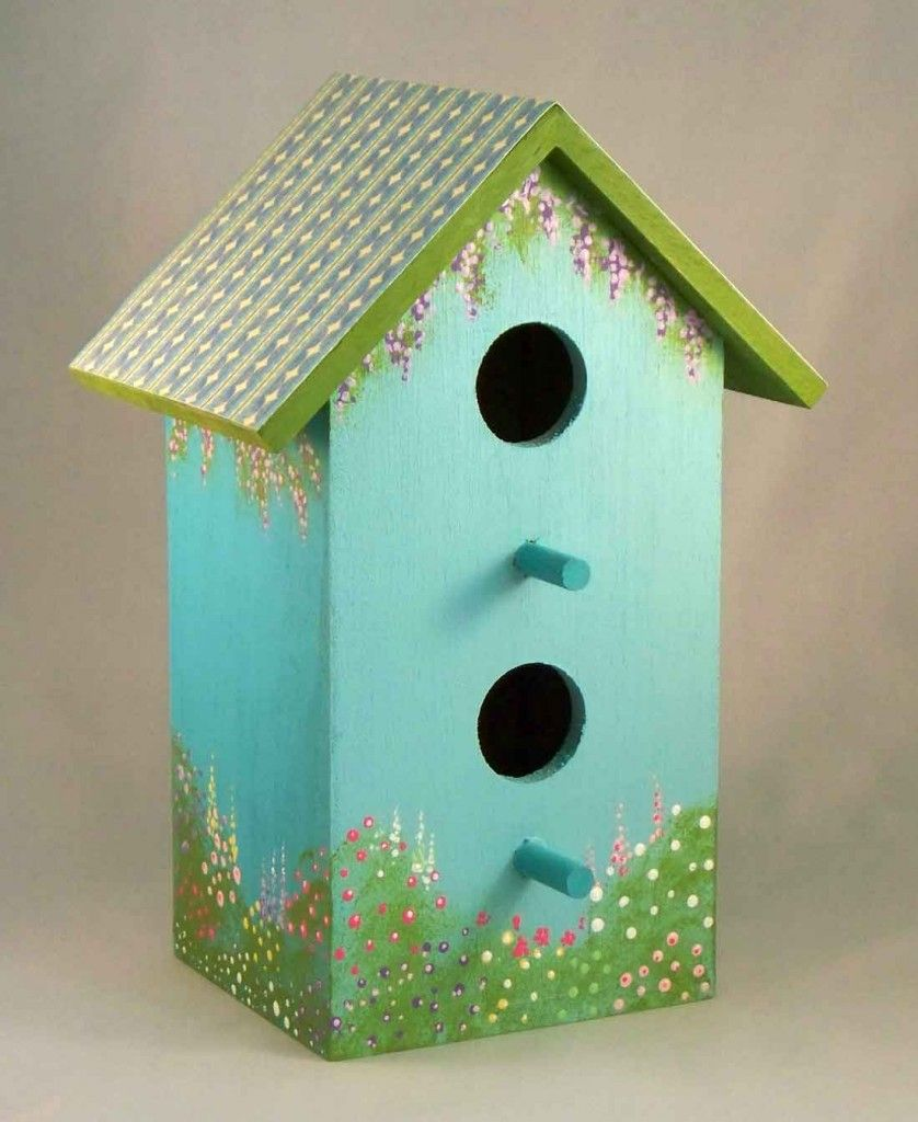 Floral Print Birdhouses Set Of 3 Bird Houses Painted