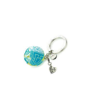 Love this Silvertone & Lime 'Love U' Bead Keychain on #zulily! #zulilyfinds