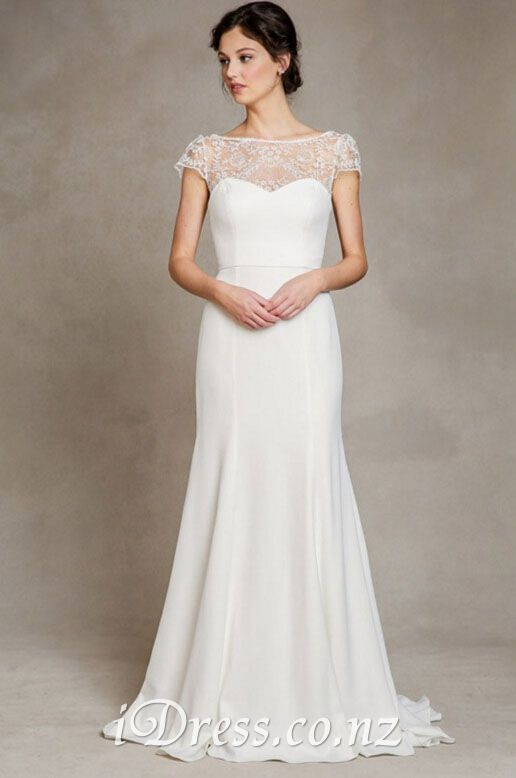 simple open back mermaid chiffon lace wedding dress | Brautkleid ...
