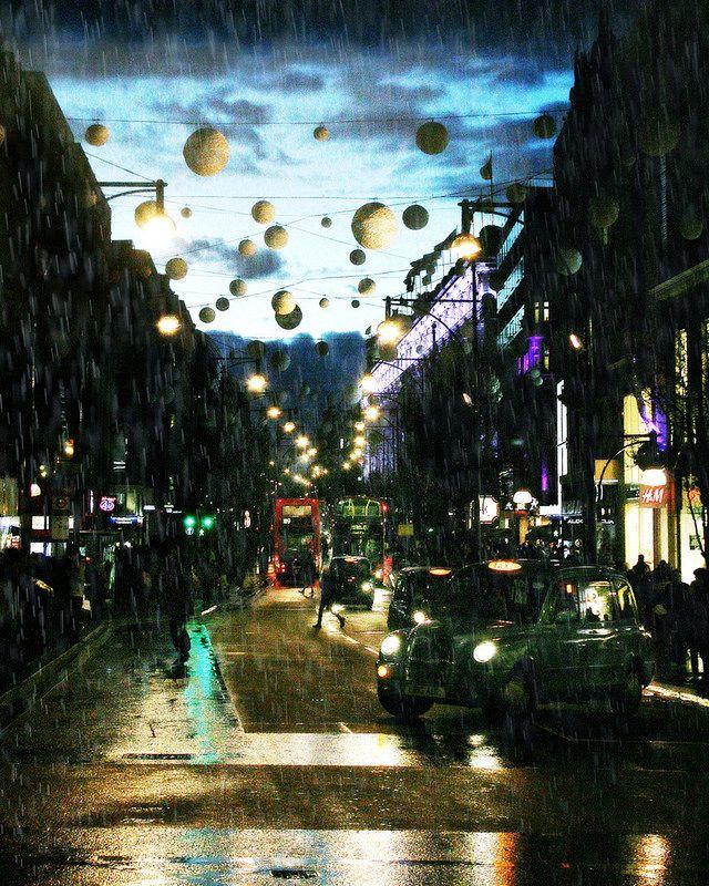 Rain on Oxford Street