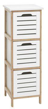 Lipasto BROBY 3 laatikkoa bambu/valk.