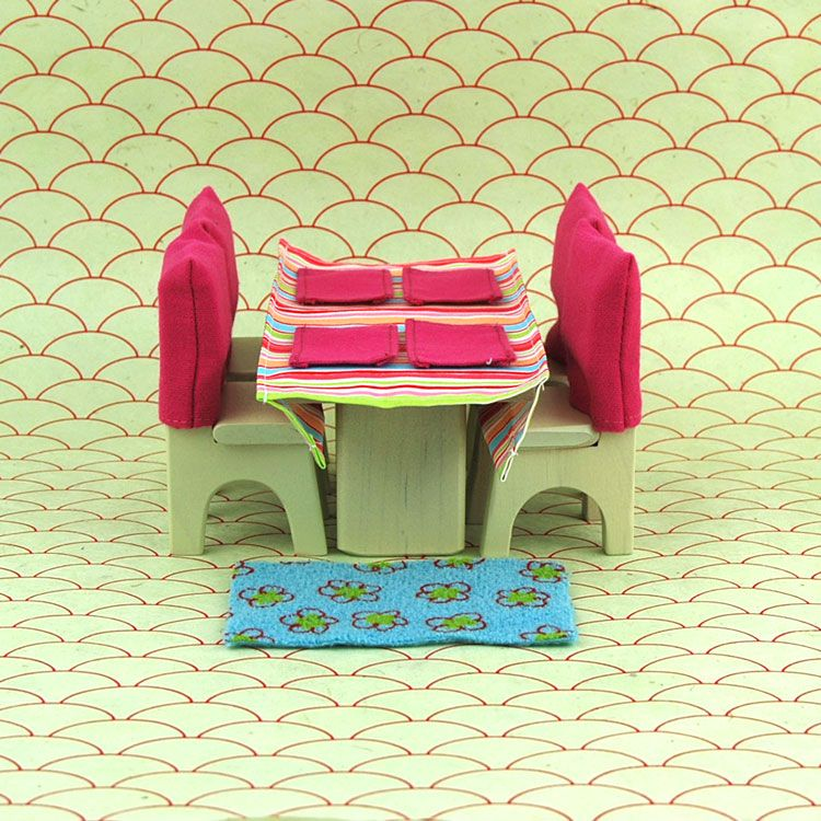 Handmade Wooden Dollhouse Dining Room Set 3500 Once Upon A TreeHouse Eco