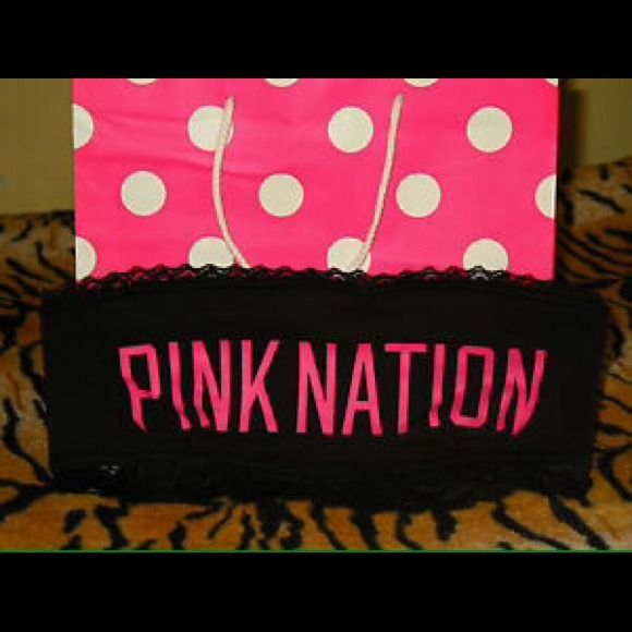 Victorias Secret PINK Nation Bandeau Bra Top S New Black Victoria's Secret PINK Nation Glitter Bling Bandeau Bra Top Size Small Victoria's Secret PINK Tops