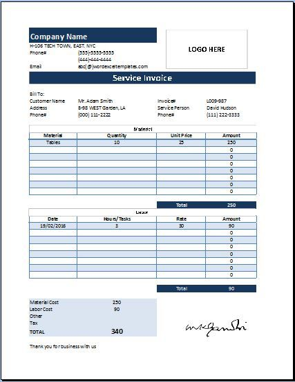 MS Excel Customer Service Invoice – Service Bill Template