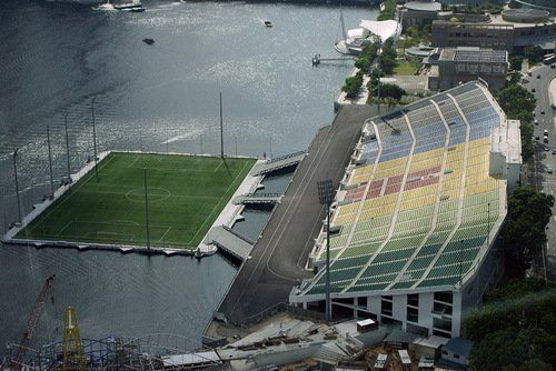 Soccer Field In The Middle Of Water Around The Worlds Stadium World