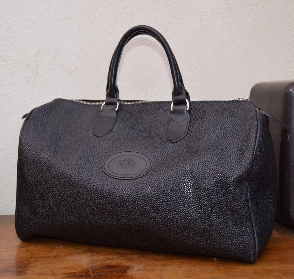 Authentic Mulberry Scotchgrain Leather Trim Boston Handbag Vintage Free P Handbags