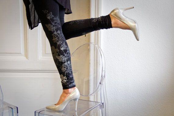 Midnight frost  black leggings with greyish ice door ZIBtextile, $50.00