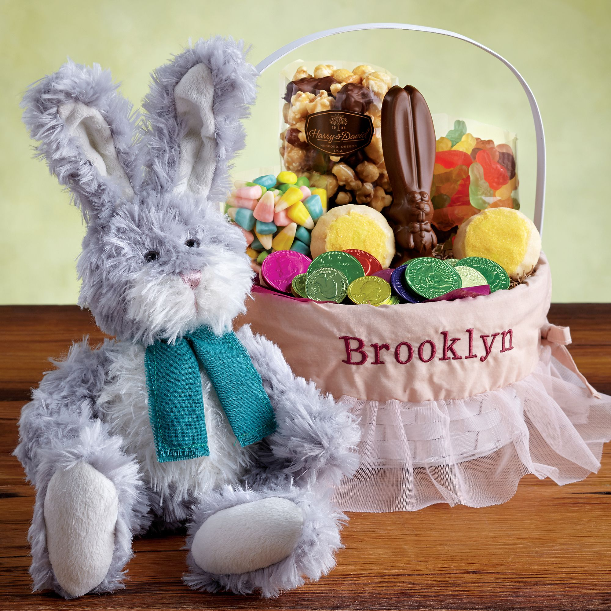 Adorable Easter Gift Basket Idea With Very Cute White Purple Bunny Doll And  Delicious Easter