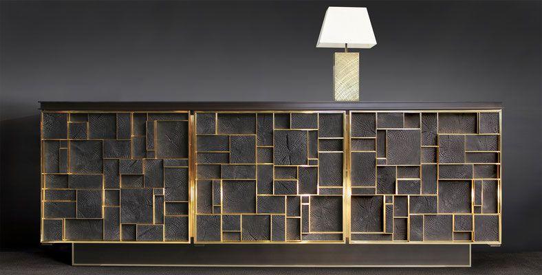 phoenix sideboard bronze charred wood ff e ii buffet. Black Bedroom Furniture Sets. Home Design Ideas